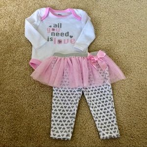 3/$25 NWOT Baby Essentials 'Love' Tutu Outfit